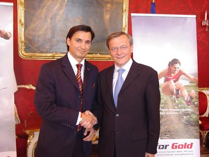 Sporthilfe Go for Gold 2005: Pressekonferenz in der Hofburg mit Sporthilfe Präsident HBK Dr. Schüssel