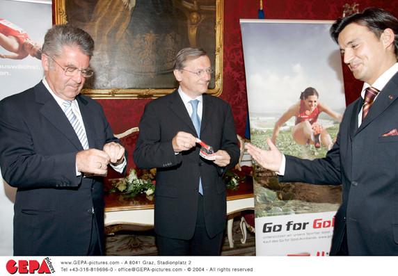 Sporthilfe Go for Gold 2005: Pressekonferenz mit HBP Dr. Fischer & HBK Dr. Schüssel in der Hofburg