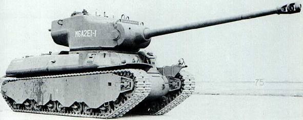 Le M6A2E1, un châssis de M6A2 avec l'imposante tourelle du prototype T29