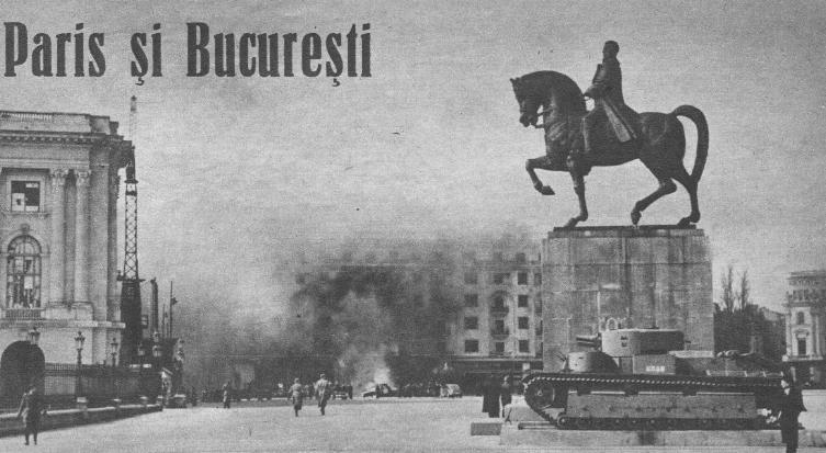 Le trophée de Bucarest, trônant sur la place pincipale de la ville