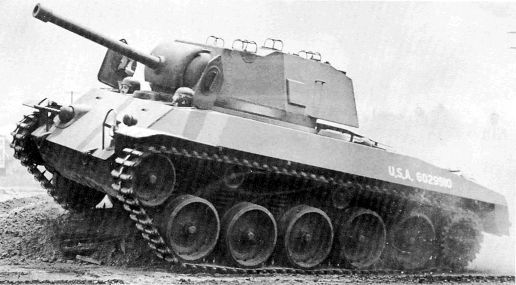 Le T49 préfigure déjà la future silhouette du Hellcat