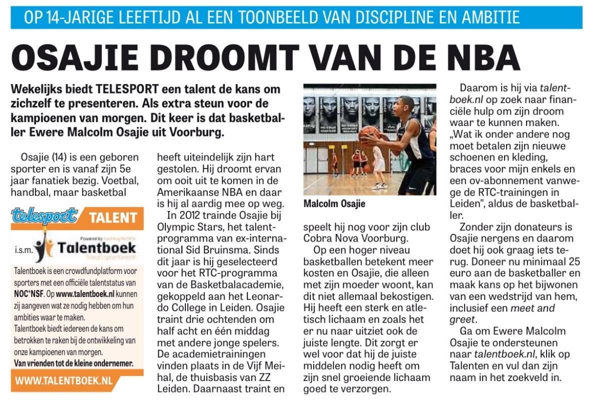 Jong basketbaltalent Telegraaf plaatst foto