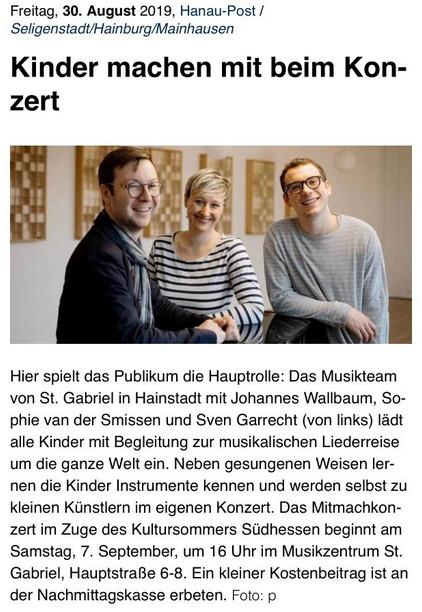 Kinder Mitmachkonzert am 7. September im Musikzentrum St. Gabriel, Hauptstr. 6-8, Hainstadt