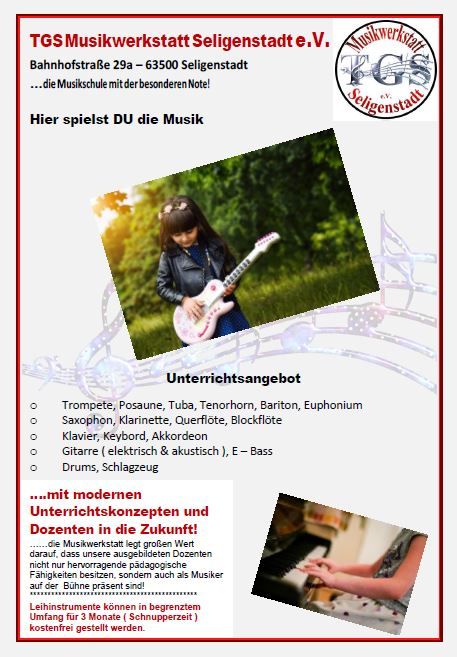 Unterrichtsangebot der TGS Musikwerkstatt Seligenstadt e. V.