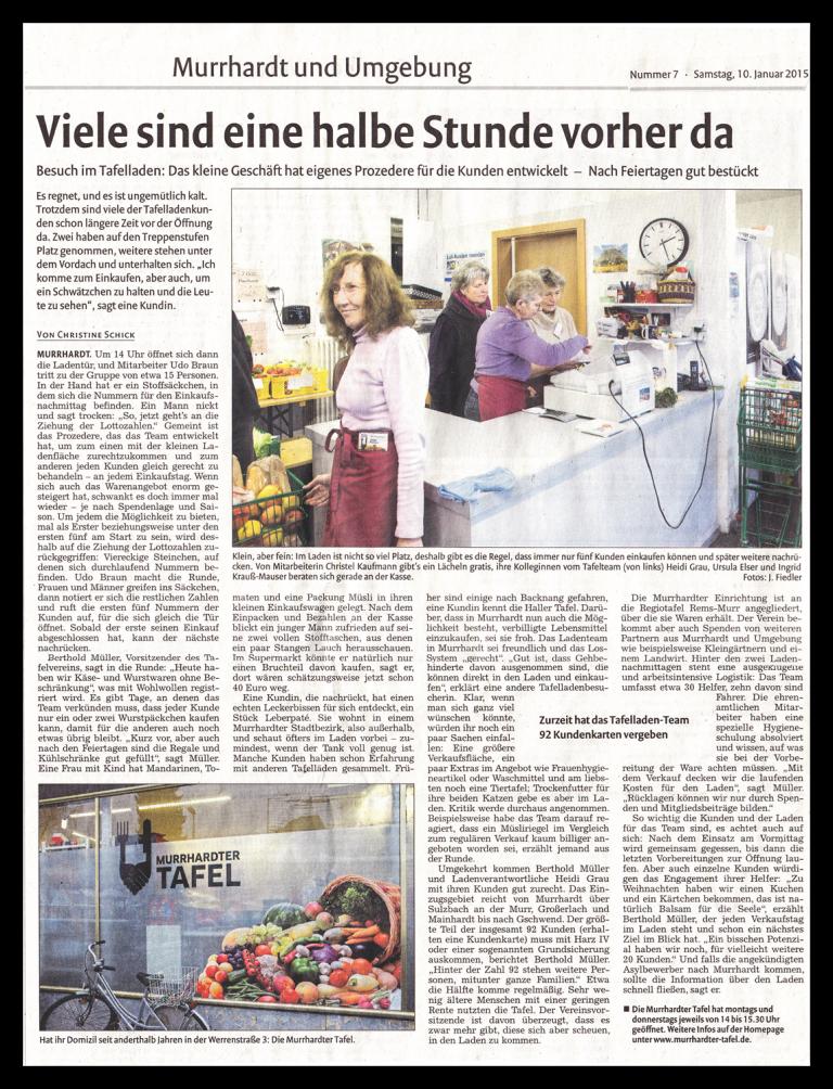 Viele sind eine halbe Stunde vorher da - Bericht der Murrhardter Zeitung über den Tafelladen (Januar 2015)