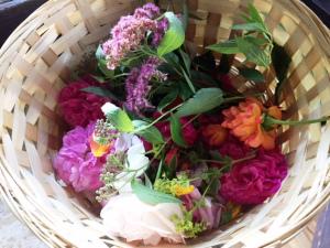 Frische Blumen und Kräuter aus meinem Bio-Garten
