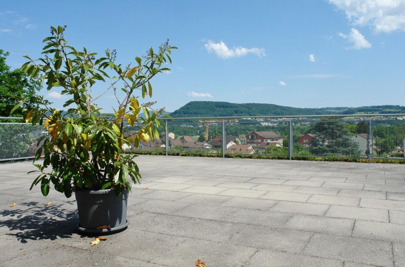 Auf der über 90 m2 grossen Terrasse: Traumhafter Ausblick Richtung Osten, Richtung Baden …