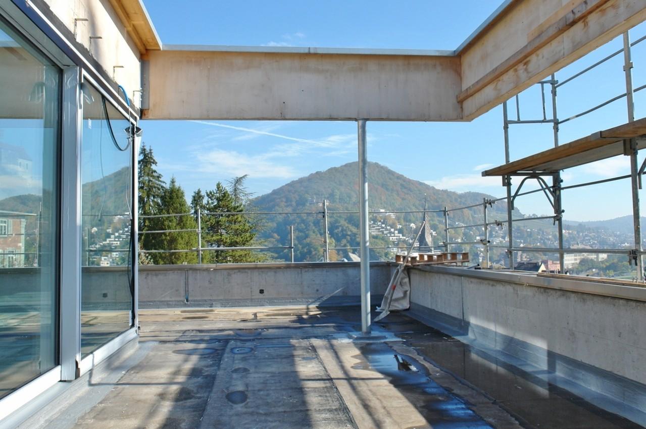 Herrlicher Blick von der Dachterrasse Richtung Lägern