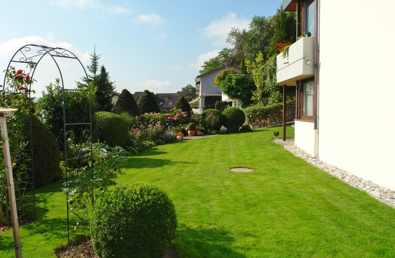 Rasenfläche auf der Südost-Seite des Hauses