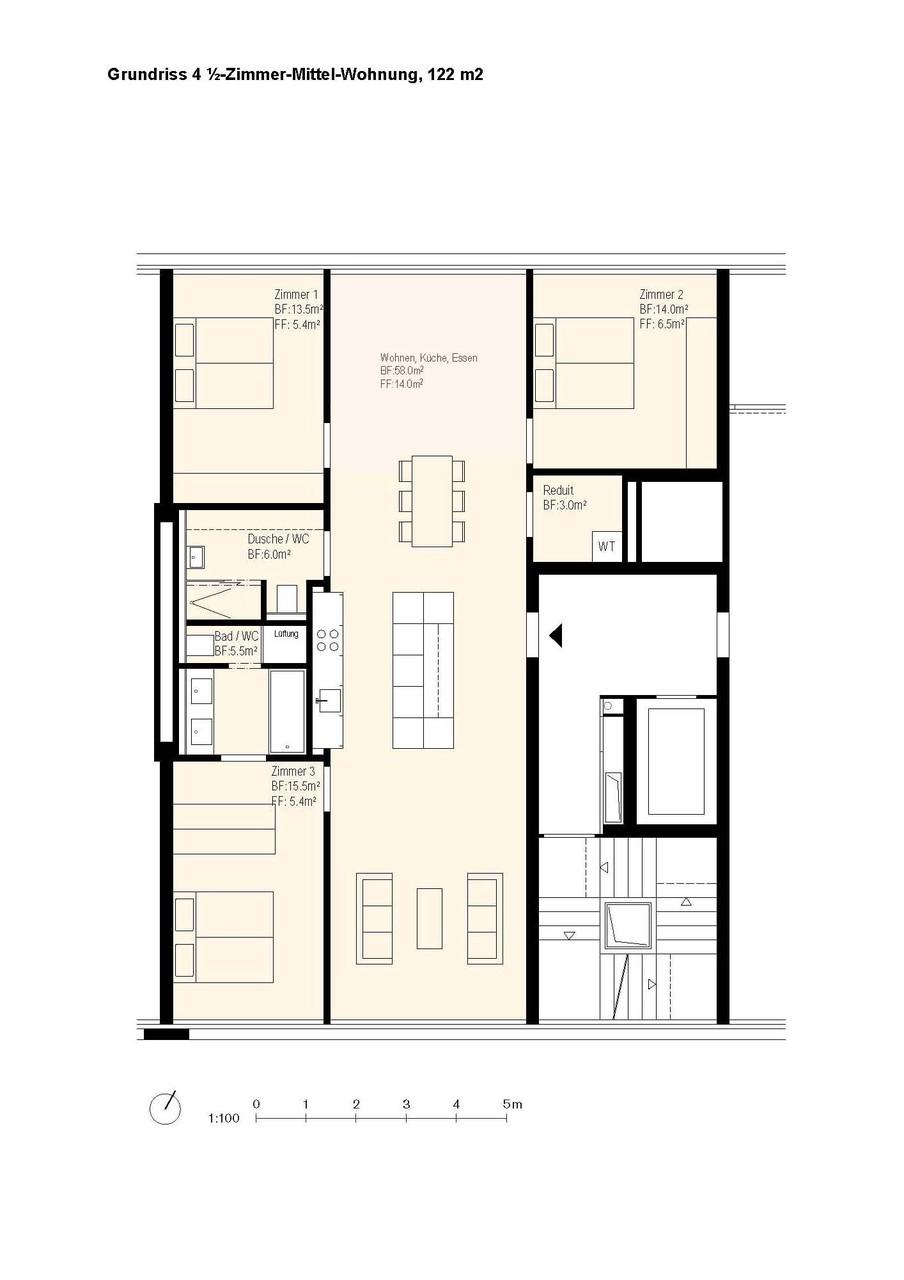 Grundriss der spannend konzipierten Wohnung
