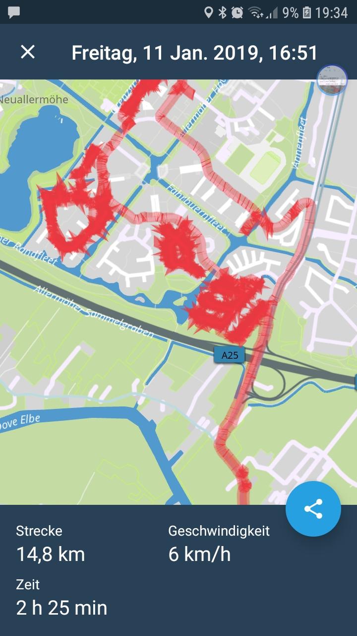 Meine heutige Flyer-verteil-Route. In Neu Allermöhe kann man sich richtig verlaufen....