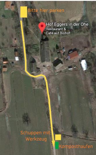 Hof Egers in der Ohe, Kirchwerder Mühlendamm 5. Den Sandweg runter,  ddgf Auto vor dem Hof abstellen, über den Hof laufen, vorbei am Cafe und Holzhackschnitzelhaufen, den Plattenweg 200 m runter gehen, auf der linken Seite ist der Acker.