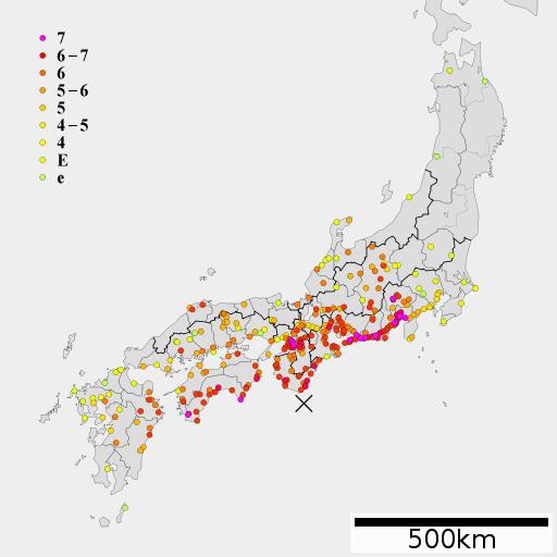 宝永地震の震度分布イメージ/Wikimedia Commonsより