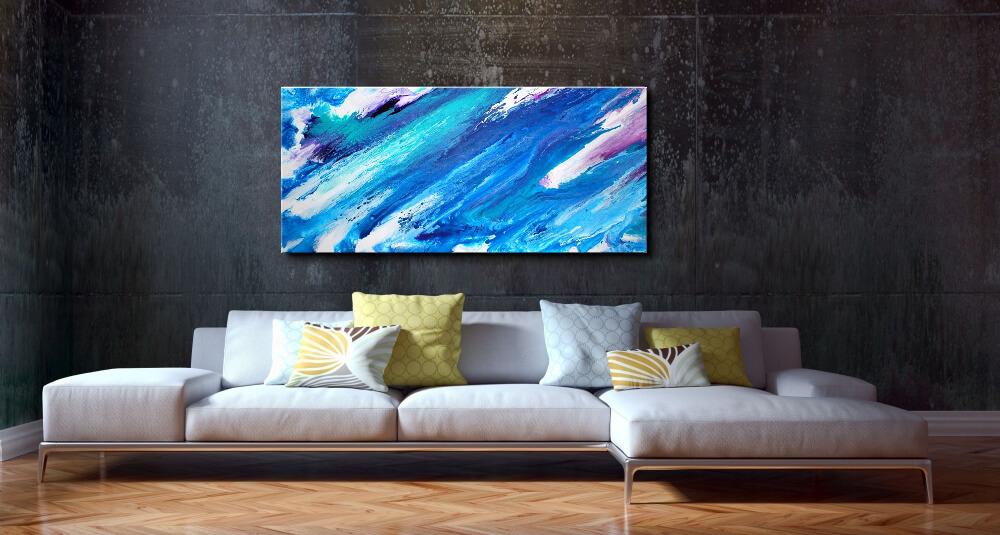 120 x 60 cm - Cooles Gemälde im Fluid Art Style