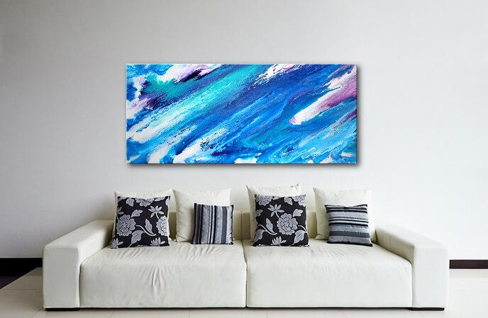Abstraktes Gemälde, Fluid Art, 120 x 60 cm, Blau, Türkis, Purple und Weiß.
