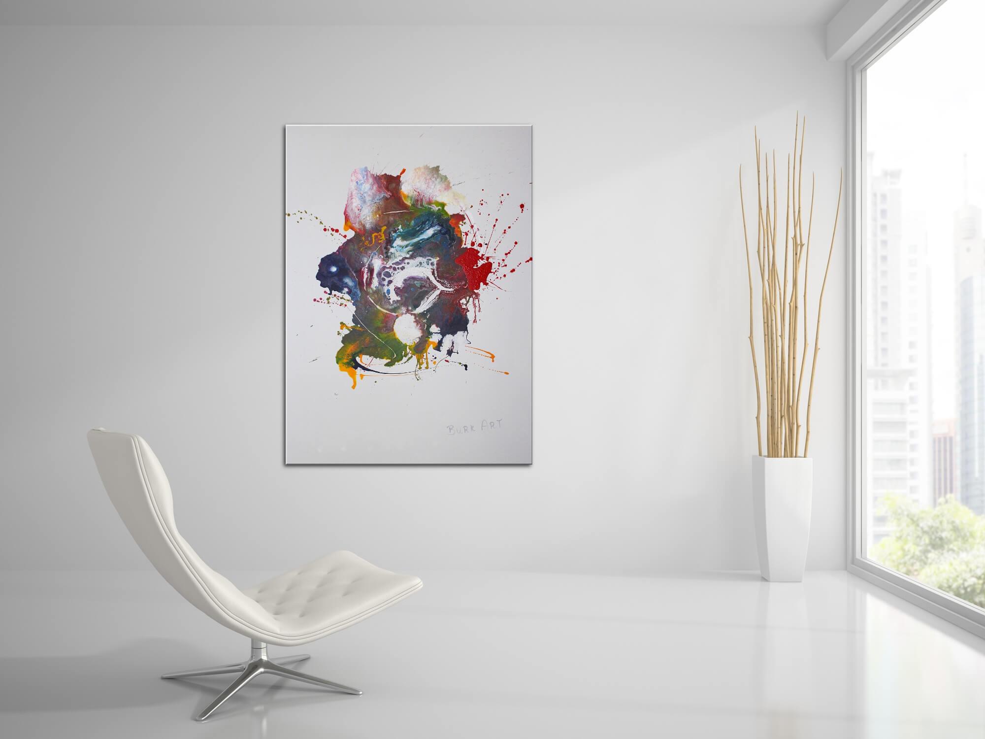 Wandbild XXL im Hochformat, bunt, Modern Art, Fliesstechnik