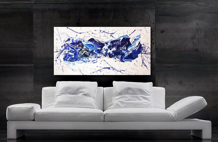 modernes, abstraktes Wandbild Wohnzimmer blau, 120 x 60 cm, Gemälde XXL