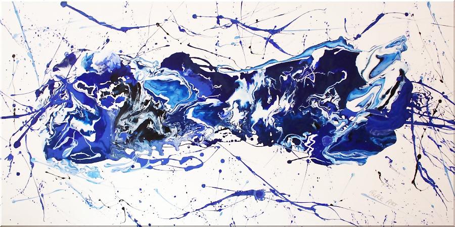Wandbild blau, 120 x 60 cm,Acrylbild abstrakt, modern, Gemälde Wohnzimmer,XXL