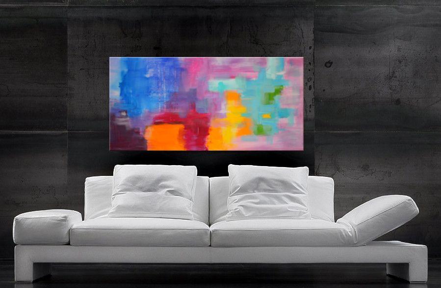 Wohnbeispiel modernes Gemälde XXL bunt 120 x 60 cm