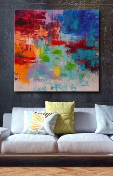 abstraktes, modernes Acrylbild in Rot, Weiß, Orange, Blau, Türkis, und Lavendel