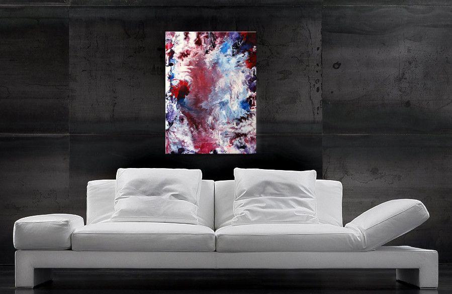Schöne Farbverläufe in Rot, Blau und Weiss - Acrylbilder kaufen