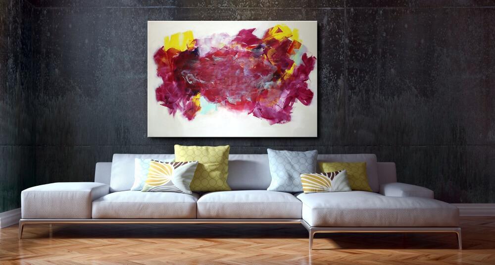120 x 90 cm - Wunderschönes Acrylgemälde in Rot, Gelb, Purpure und Mintgrün
