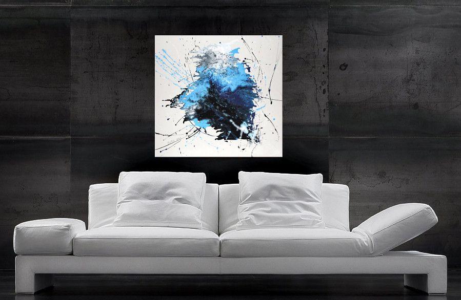 modernes gemälde blau splash