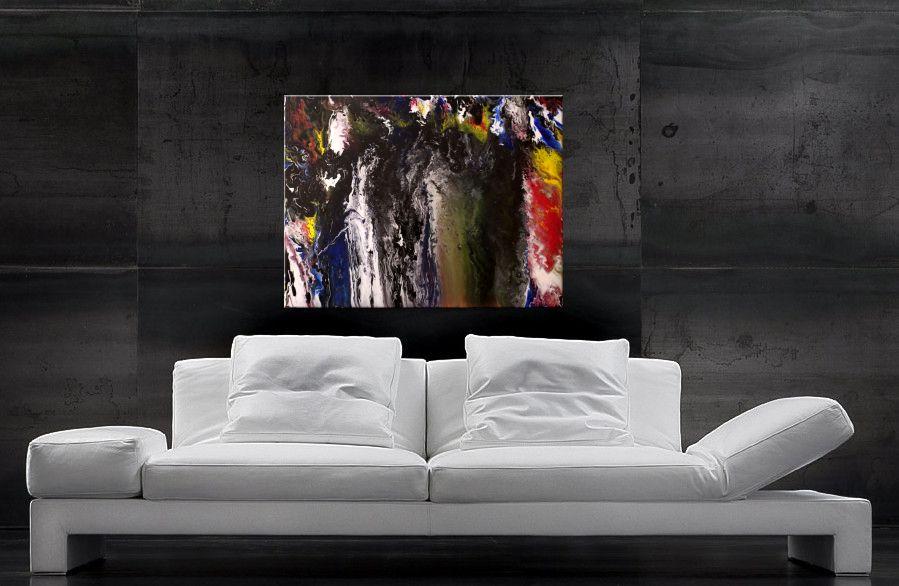 Acrylbilder kaufen - Farbverläufe in Blau, Schwarz, Weiss, Rot und Gelb