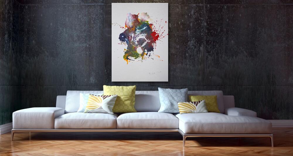 120 x 90 cm - Fluid Art Gemälde im Hochformat