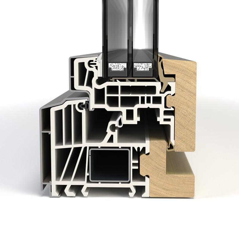 Aluminium-Holz versetzt