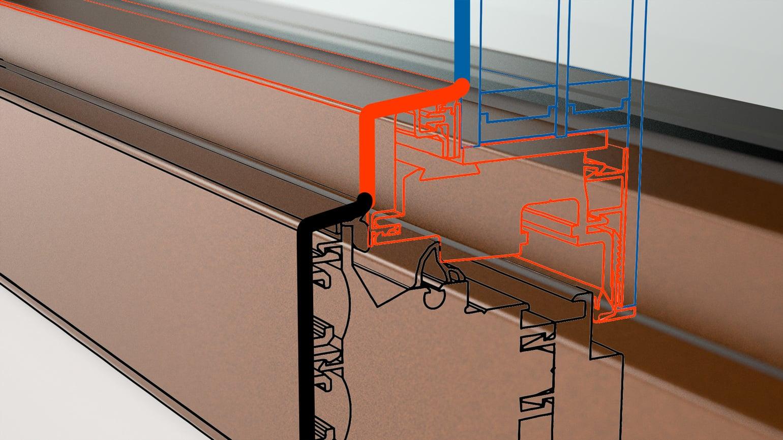Step Line: Flächenversetzte, gestufte Rahmenansicht.