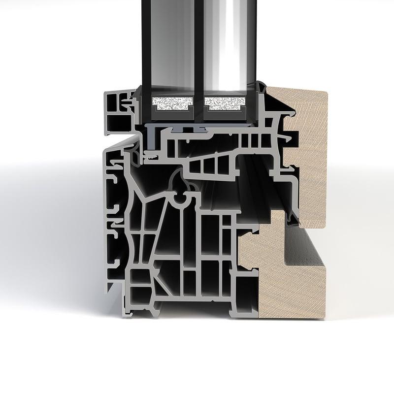 Aluminium-Holz flächenbündig