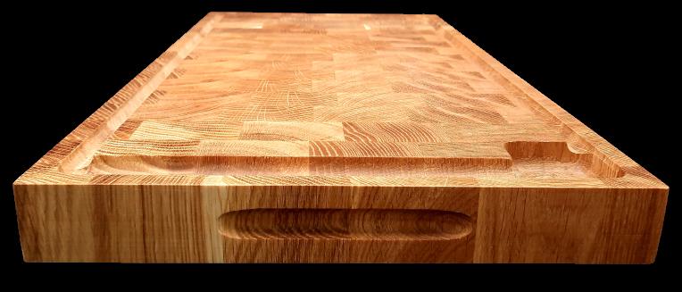 Hirnholz Schneideblock, Hackblock aus Eichenholz mit Saftrinne und Griff