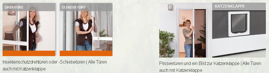 Bilder zu Insektenschutzdrehtüren oder Insektenschutz-Schiebetüren inklusive Bild Plissetür mit integrierter Katzenklappe
