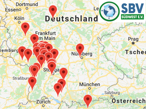 Bild: Mitgliedsunternehmen des SBV Südwest e.V. auf Google-Geo-Map