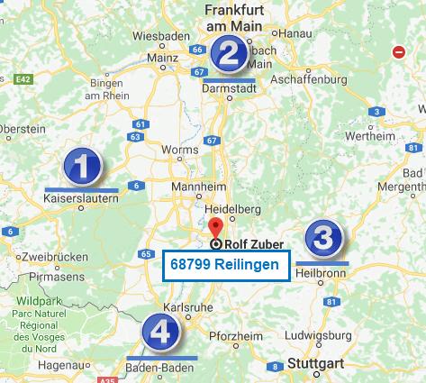 Bild Kartenregion mit 68779 Reiligen als Ausgangsbasis. Punkt 1 = westlich bis KL Punkt 2 = nördlich bis DA Punkt 3 = östlich bis HN und MOS Punkt 4  = südlich bis KA und BAD