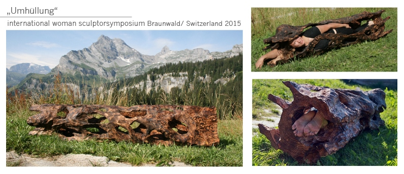 Baum Hülle Umhüllung Holz Gartenobjekt Garten Skulptur Katharina Mörth Skulptur Sculpture moderne Kunst Art sculpture network
