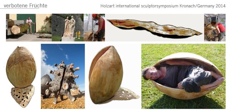 Kokon Gartenobjekt Garten Skulptur Holz Woodl Katharina Mörth Skulptur Sculpture moderne Kunst Art sculpture network verbotene Frucht  abstrakte skulptur abstract wood sculptur wood
