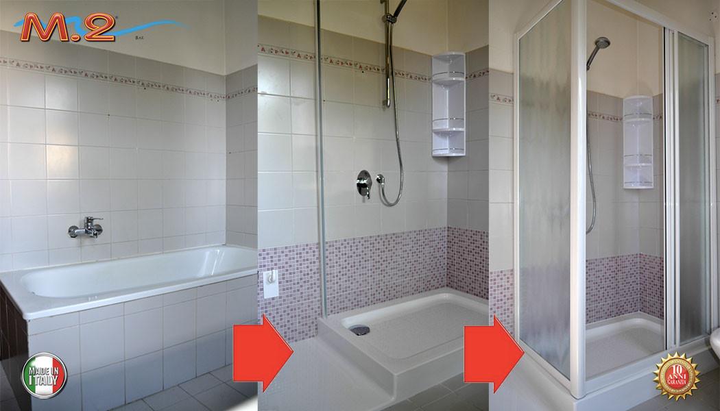 Cambio vasca con doccia a Empoli, Firenze. Soluzione da vasca a doccia con spazio lavatrice ...