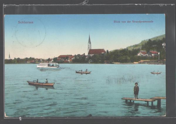 """Um 1900 Sicht auf St. Sixtus und """"Badeanstalt Spitz"""" (Schlierseer Hof)"""