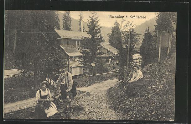Die alte Wurzhütte am Spitzing vor 1900