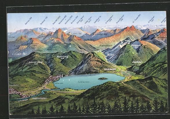 Panorama-Karte der Schlierseer Berge