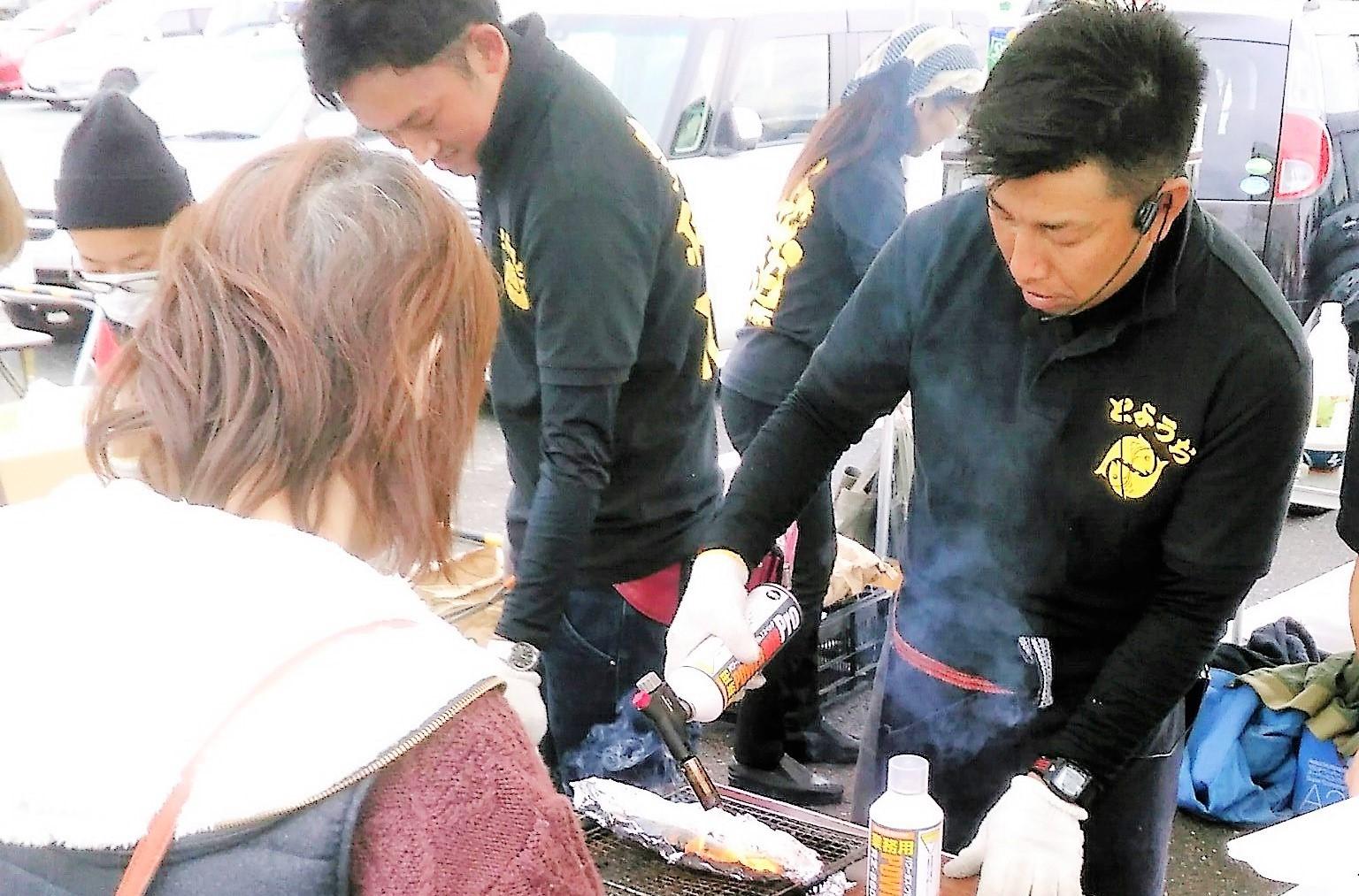 さんま祭り!仕上げの炙り焼き!このさんまは本当に美味しいですよ!