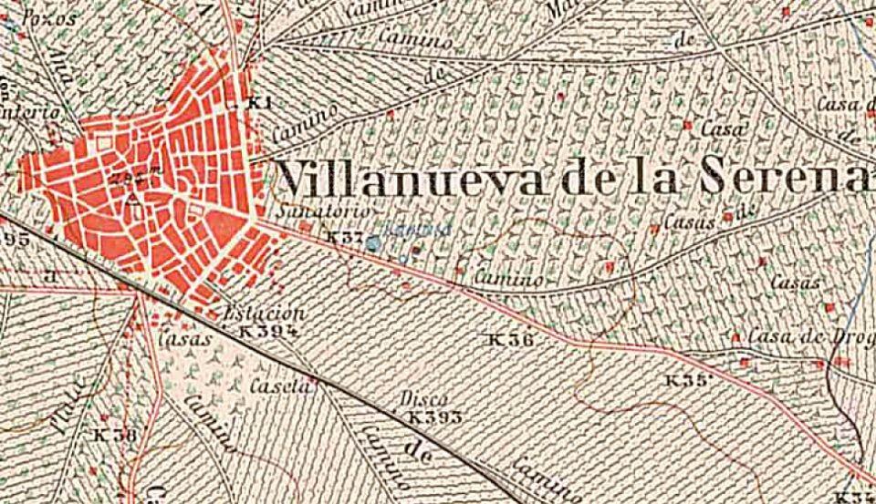 Plano de Villanueva de la Serena año 1940