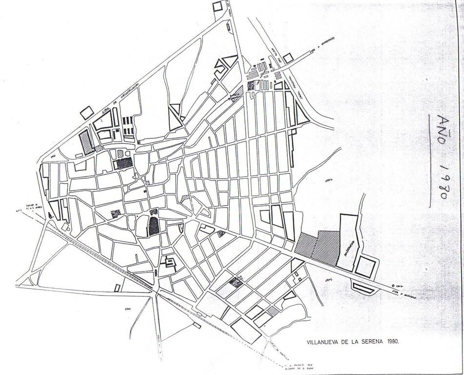 Plano de Villanueva de la Serena año 1980