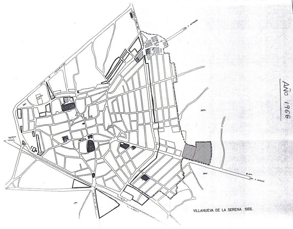 Plano de Villanueva de la Serena año 1966