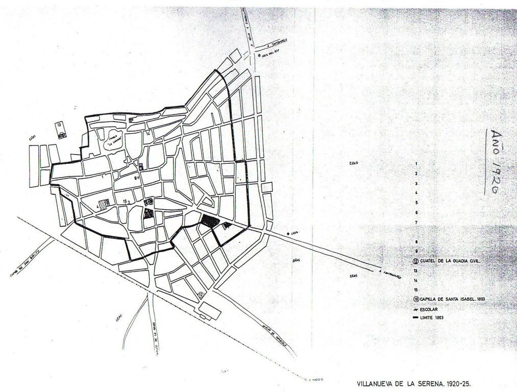 Plano de Villanueva de la Serena año 1920