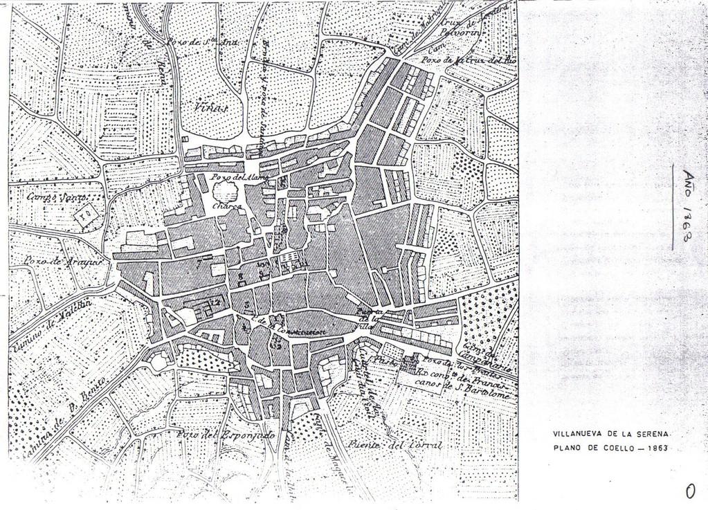 Plano de Villanueva de la Serena año 1863