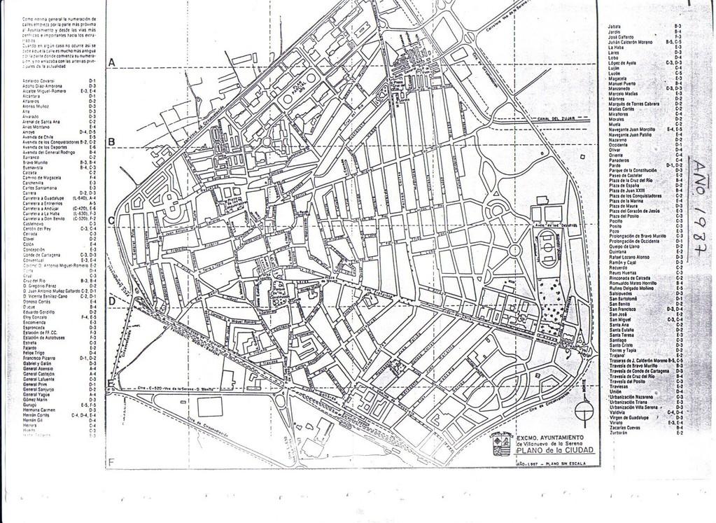 Plano de Villanueva de la Serena año 1987