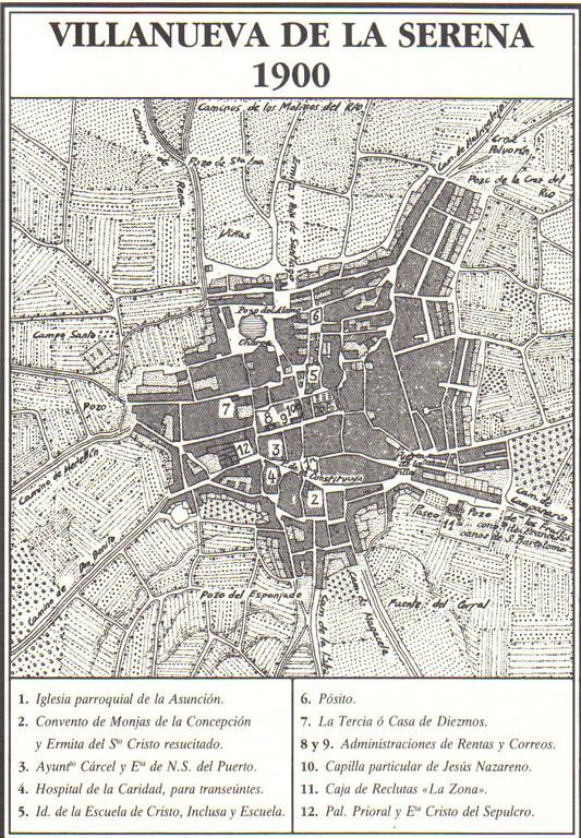 Plano de Villanueva de la Serena año 1900